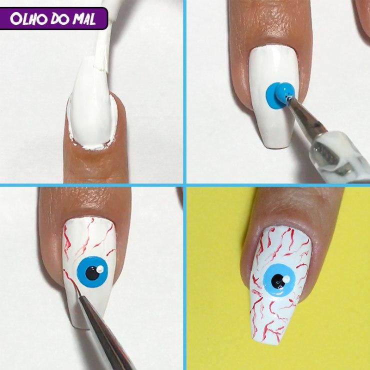 5 unhas fáceis para o halloween, unhas fáceis para o halloween, halloween, unhas halloween, halloween nails, unhas olho halloween