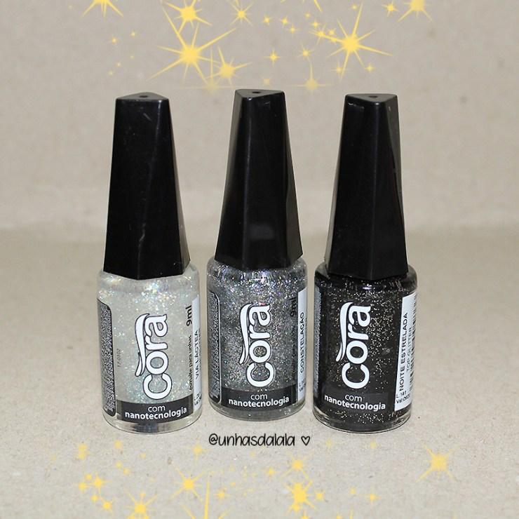 recebidos esmalte cora, glitters, glitter, top glitters cora, glitters cora, esmalte cora, glitter transparente, glitter prata, glitter preto