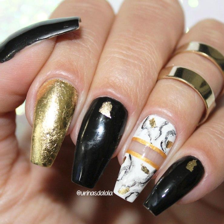 unhas tumblr stone nails, unhas tumblr, tumblr nails, unhas pedra de mármore, stone nails, folha de ouro, esmalte preto, unhas espaço negativo, unhas com folha de ouro
