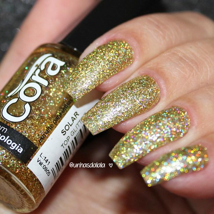 top glitter cora solar, glitter, glitter dourado, dourado, glitter holográfico, holográfico, glitter cora, cora esmaltes, esmaltes cora