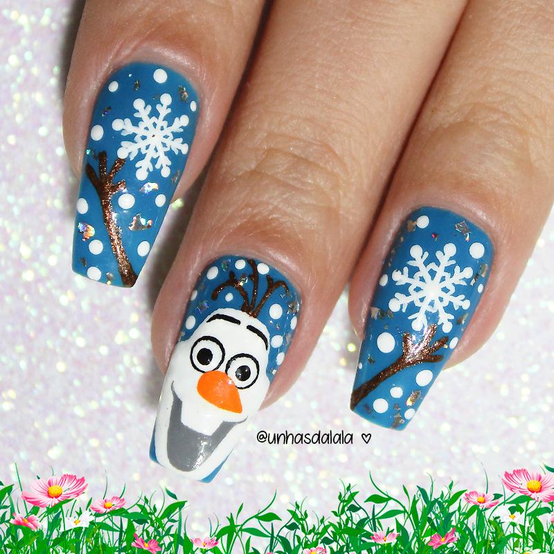 unhas decoradas para o natal, natal, unhas de natal, unhas para o natal, olaf, frozen, unhas olaf, olaf frozen, unhas frozen, unhas azuis, esmalte azul, azul, boneco de neve, olaf nails, christmas nails