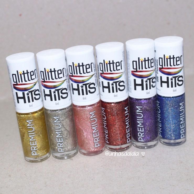 recebidos hits speciallitá glitter flocado, hits speciallità, esmaltes hits, glitter, glitter flocado, lançamento hits, glitter dourado, glitter prata, glitter rosa, glitter azul, glitter roxo, glitter vermelho, unhas da lalá, glitter que não arranha