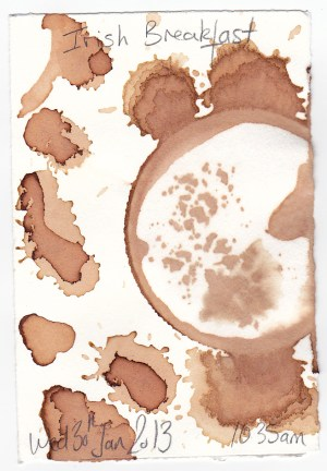Scan of one of WeatherGrrrl's tea stain pieces featured in the Colorado Mesa University 4x6/6x4 Postcard Exhibit