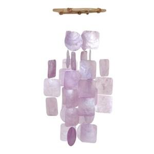 Petit Carillon Lilas / Small Square Capiz Wind Chime – Lilac