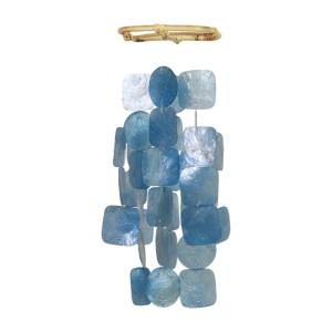 Petit carilllon Bleu / Small Square Capiz Wind Chime Blue