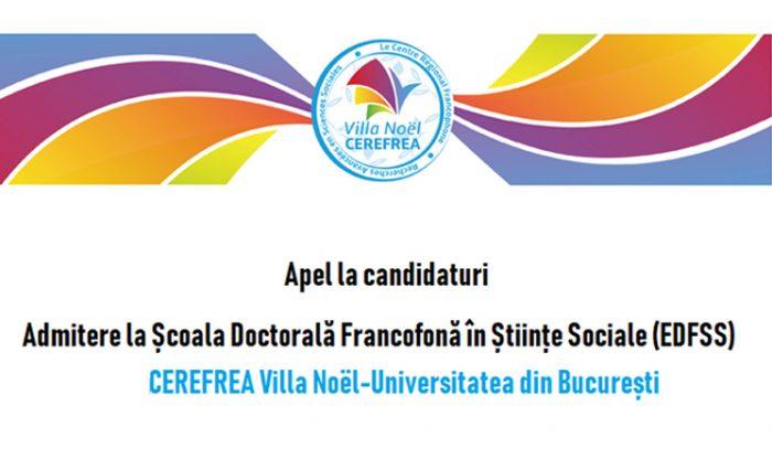 Școala doctorală EDFSS_ CEREFREA Villa Noël stire
