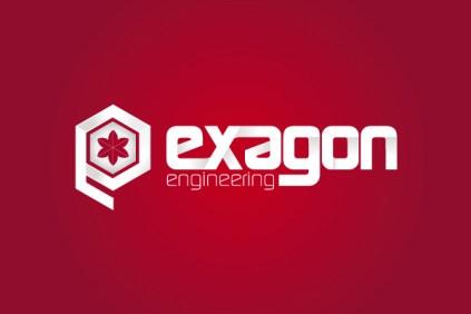 Exagon Logo Azienda su sfondo colorato