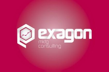 Exagon Logo Marketing consulting   su sfondo colorato