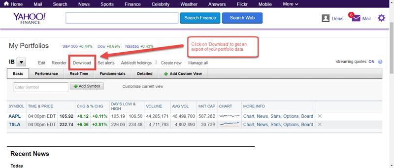 Yahoo Finance export investment portfolio