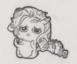 Chibi Rarity with mud and leaves all over her