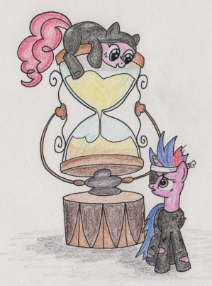 Twilight (looking nervous, with eyepatch and battle-gear) standing in front of a huge hourglass, Pinkie Pie (smiling) sitting on top of the hourglass