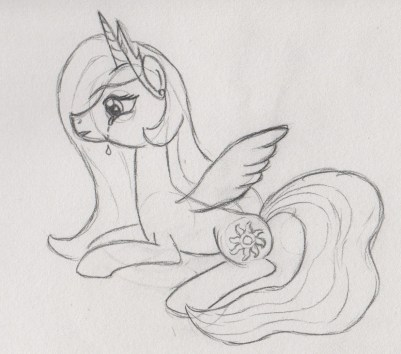 Princess Celestia lying down, crying