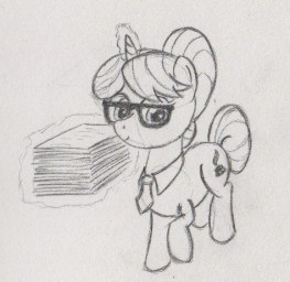 Unicorn with mane and tail tied into buns, wearing glasses, a tie, and hovering a stack of papers next to her.