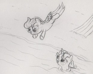Scootaloo mid-jump before splashing into the sea, Sweetie Belle swimming