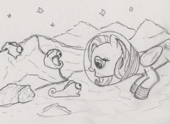 Fluttershy wearing a space suit on the moon, looking a three camouflage slugs, and they're looking at her