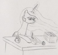 Princess Celestia sitting behind her desk, grading papers