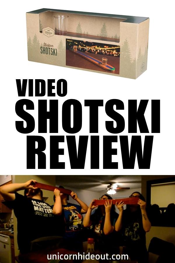 Shotski Review, Wemco Men's Cabin Life Shotski Drinkware Set and four people doing shotskis