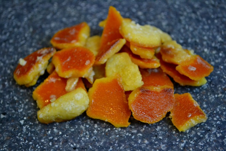Candied Orange Peel on gray surface