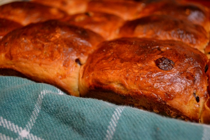 Cranberry Orange Hot Cross Buns from side on green towel without icing