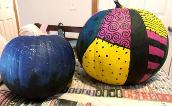 Painted Pumpkins Nightmare Before Christmas Sally Pumpkin and Night Sky pumpkin