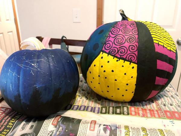 Painted Pumpkins Nightmare Before Christmas Sally Pumpkin and Night Sky pumpkin