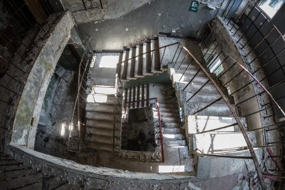 spiral staircase looking downwards