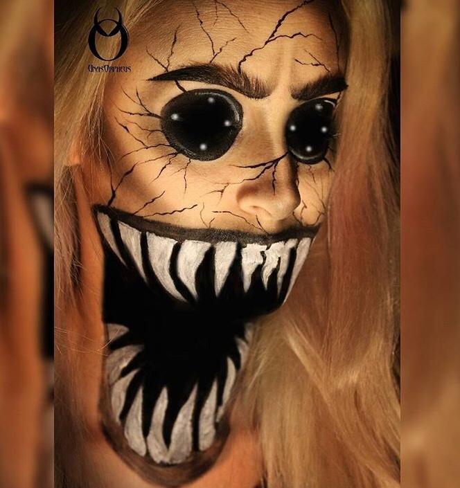 Broken doll scared makeup with sharp teeth