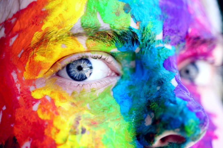 Rainbow painted face