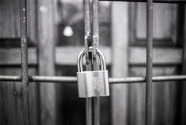 A padlocked gate