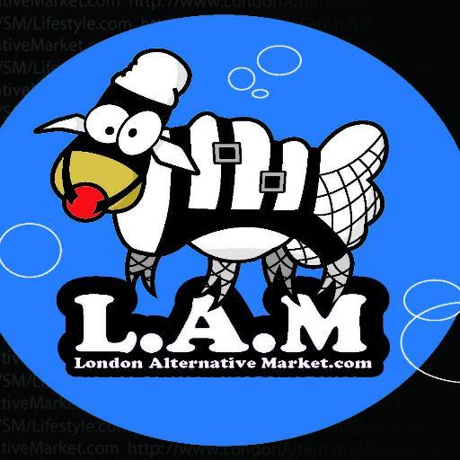 LAM - London Alternative Market Logo. BDSM bondage dressed cartoon image