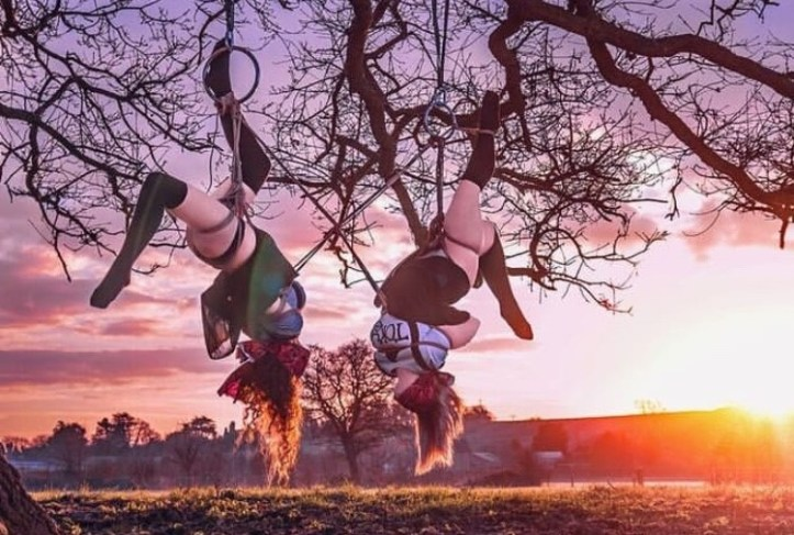 Two women suspended upside down with shibari rope ties from the branches of a winter tree over a pasture with sunrise in the background, wearing knee socks and skirts with blindfolds
