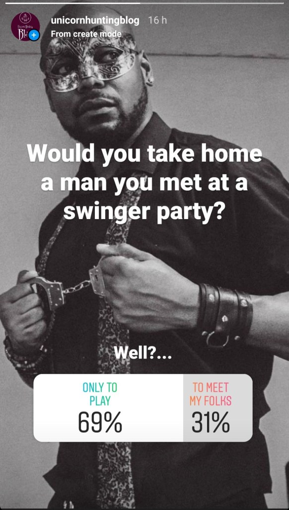 Attractive bearded black man in shirt with undone tie and swinger party mask holding handcuffs with poll results for whether you would take him home to play or to meet your folks.