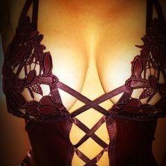 woman in dark red lingerie
