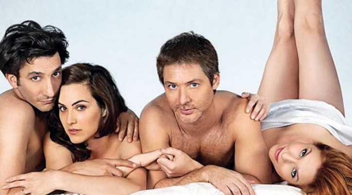 Two men and two women naked in bedsheet.  Image from 3 fun app used for the interview and review