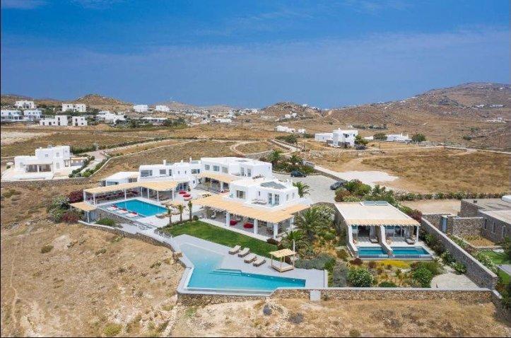 Surrounding landscape at swingers in mykonos holiday villa greece