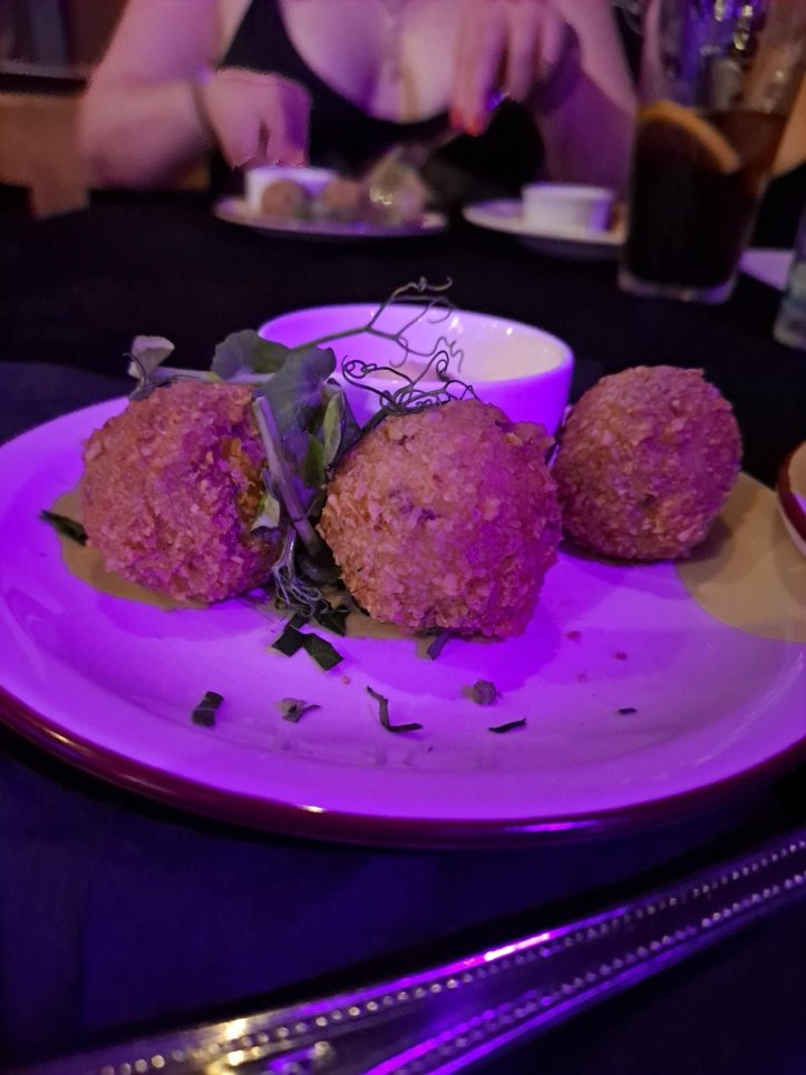 arancini food at pearl necklace by torture garden