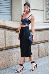 cropped top, satin, quality, high waisted baggy pants, black, mango shoes