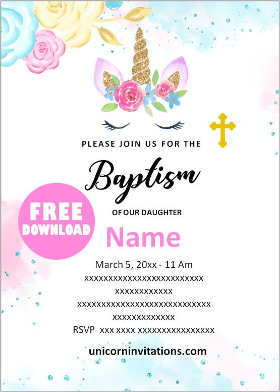 free printable unicorn baptism