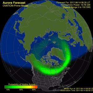 O OVATION Aurora Forecast Model mostra a intensidade e localização da aurora prevista para o tempo mostrado no mapa. Fonte swpc-noaa