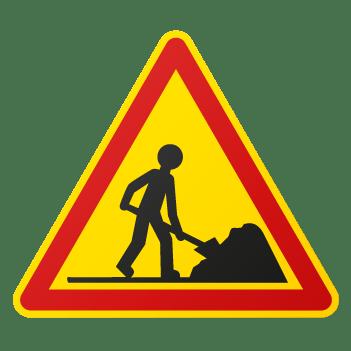 pictogramme d'un panneaux français indiquant une zone de travaux
