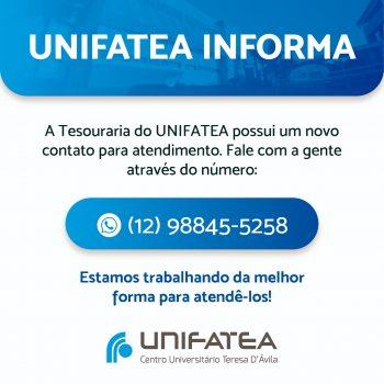 UNIFATEA informa o novo contato da tesouraria
