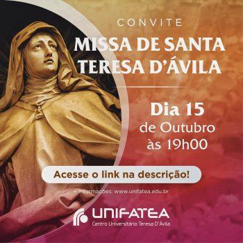 Celebração homenageará Santa Teresa, Ir. Olga de Sá e o Dia dos Professores