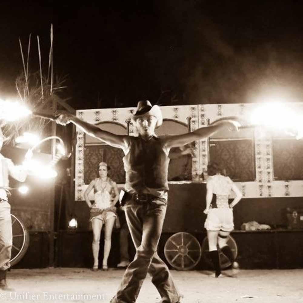 Western Cowboy Fire Dancer