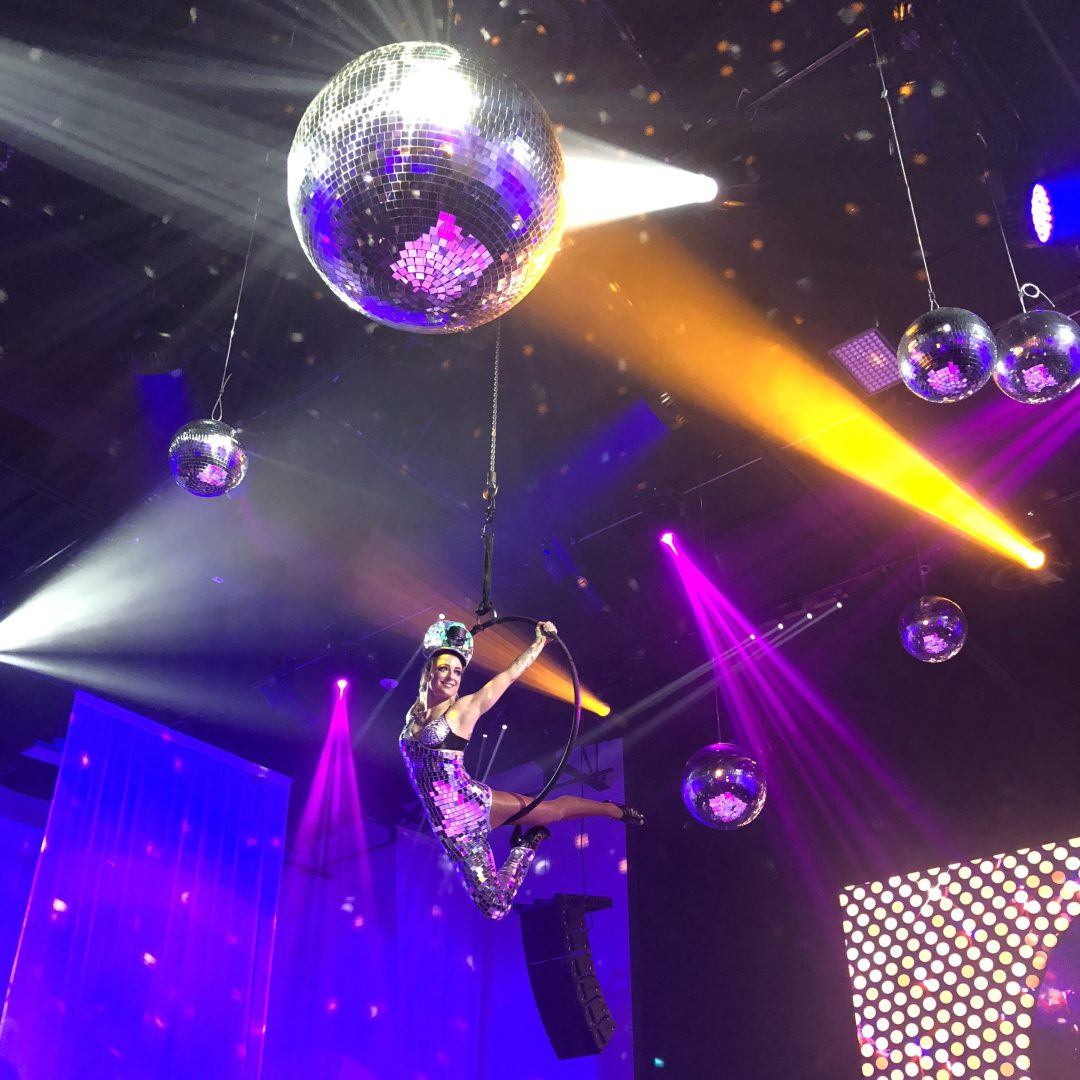 Disco aerialist for a studio 54 party