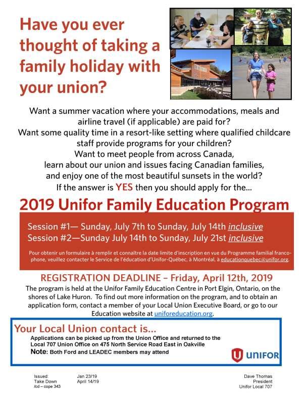 2019 Unifor Family Education Program