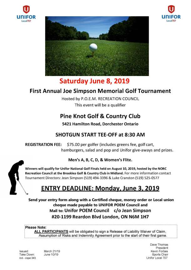 POEM Golf Saturday June 8 2019 at Pine Knot Golf Country Club Dorchester ON