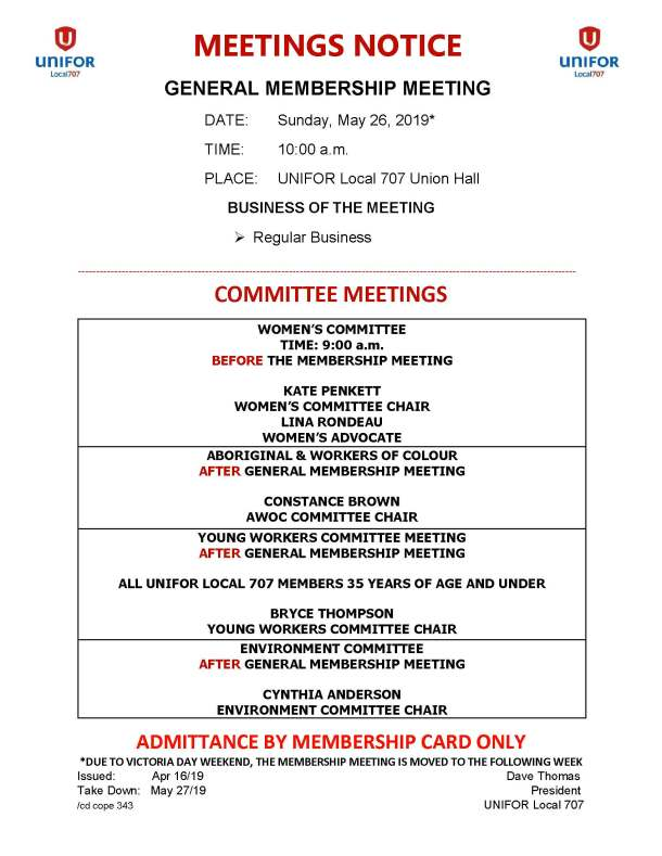 05 May 26 2019 General Membership - Womens Committee - Young Workers - AWOC - Environment Meetings Notice