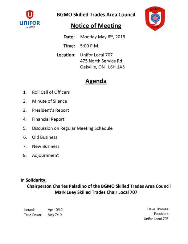 BGMO Skilled Trades Area Council Call Letter Monday May 6 2019