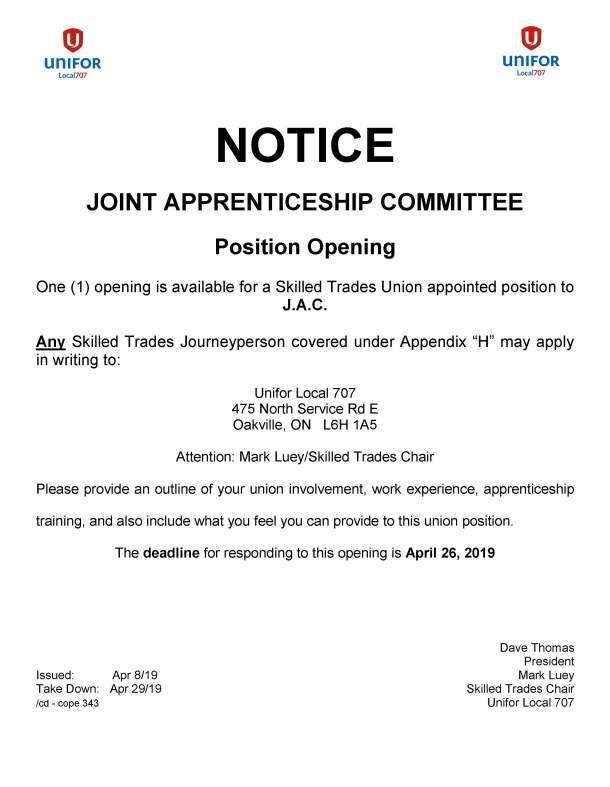 JAC 1 position opening Skilled Trades Deadline April 26 2019