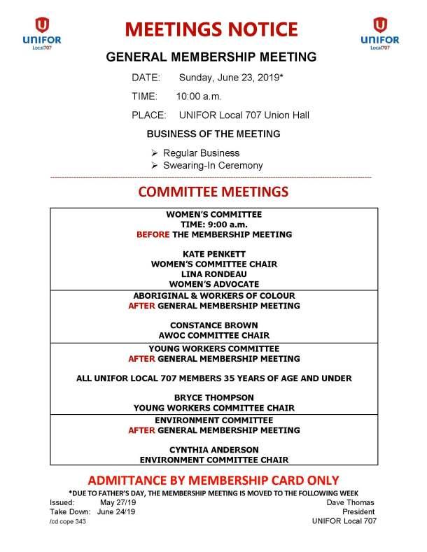 06 June 23 2019 General Membership - Womens Committee - Young Workers - AWOC - Environment Meetings Notice